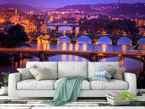 обои Старый город Фотообои Мосты ночью