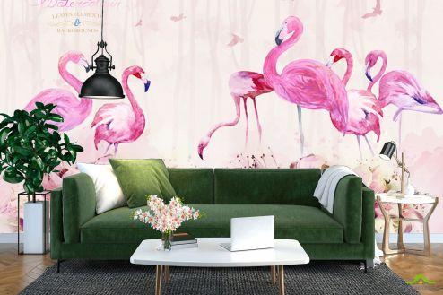 с Фламинго Фотообои Акварельные фламинго