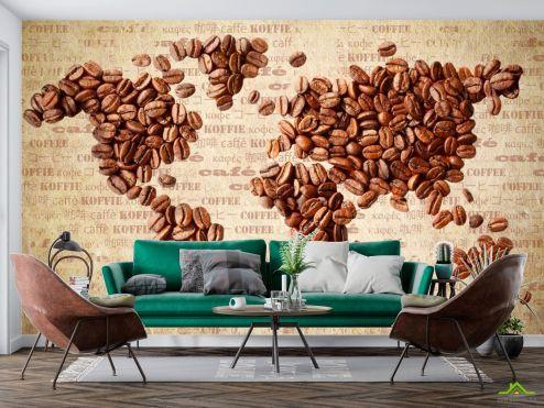 Карта Фотообои Карта из кофе