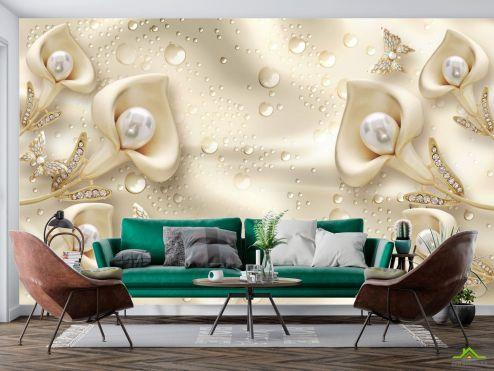 3Д  Фотообои Золотые цветы капли