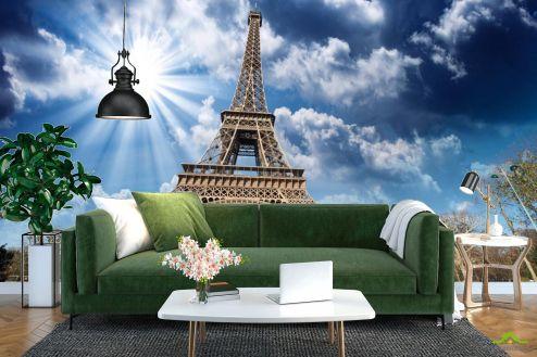 Париж Фотообои солнце над Эйфелевой башней