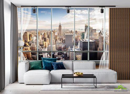 в гостиную Фотообои Вид из окна на город