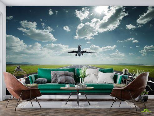 Фотообои Природа по выгодной цене Фотообои самолет над взлетной полосой