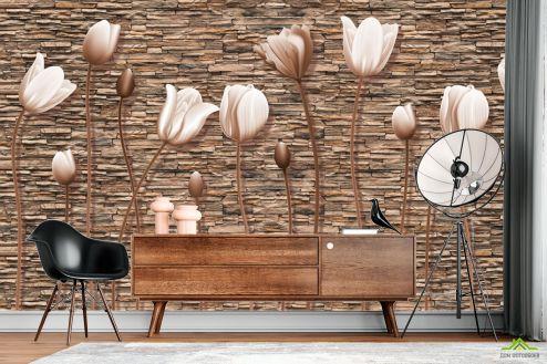 3Д  Фотообои Тюльпаны на каменном фоне