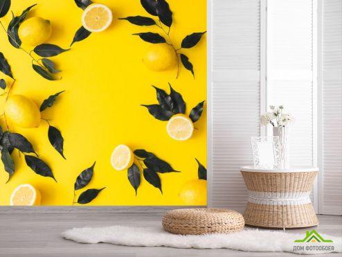 обои Еда и напитки Фотообои желтые с лимоном