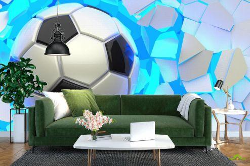 Фотообои Спорт по выгодной цене Фотообои мяч разрушает стену