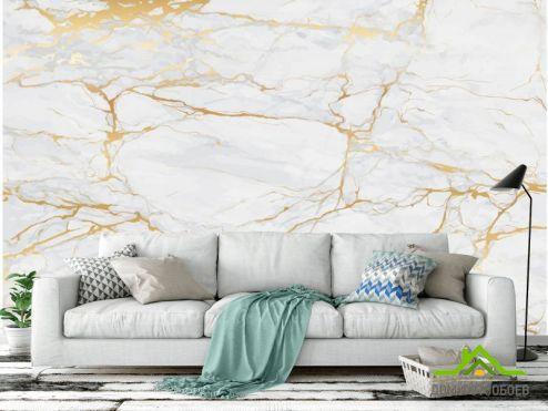 лофт Фотообои Текстура светлого камня с золотом