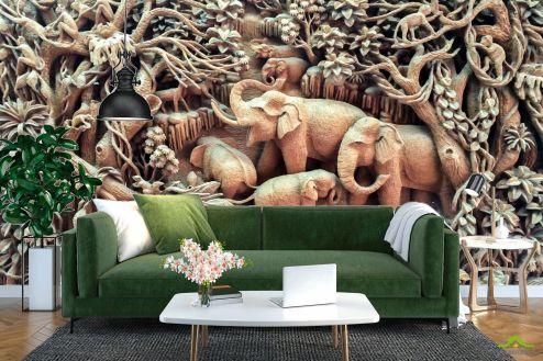3Д  Фотообои деревянные слоны
