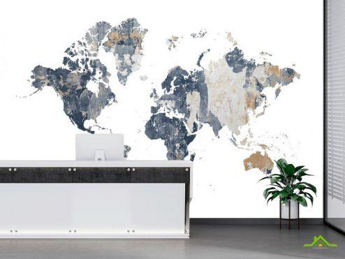 в офис Фотообои Карта мира на белом