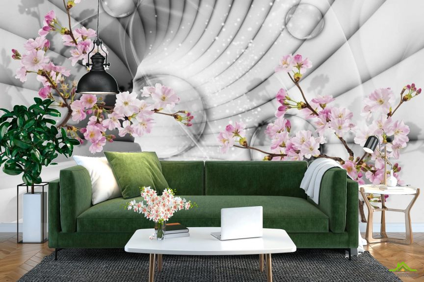 Фотообои 3д тоннель с цветами