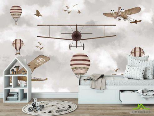 обои Little kids Фотообои Самолеты, вертолеты и воздушные шары