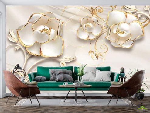в стиле барокко Фотообои Белые цветы 3d купить