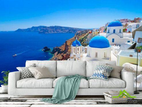 Голубые обои Фотообои о. Санторини, Греция