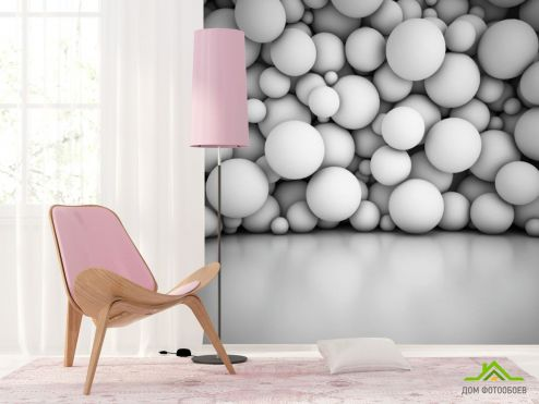 3Д  Фотообои Стена из обьемных 3д шаров