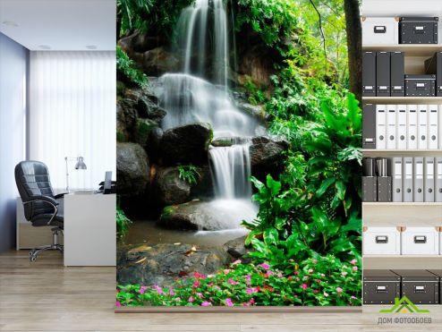 Водопад Фотообои Райское место леса купить
