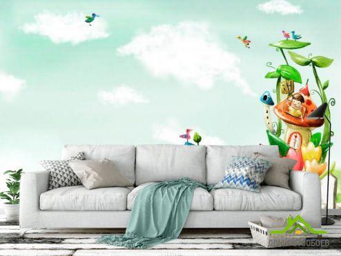 Иллюстрации Фотообои Домик в цветах