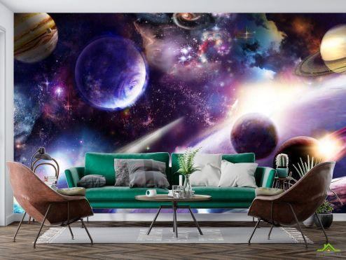 Космос Фотообои яркий космос с планетами