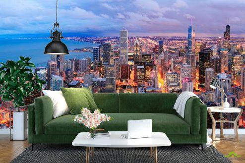 Фотообои Чикаго по выгодной цене Фотообои Город Чикаго пробуждается