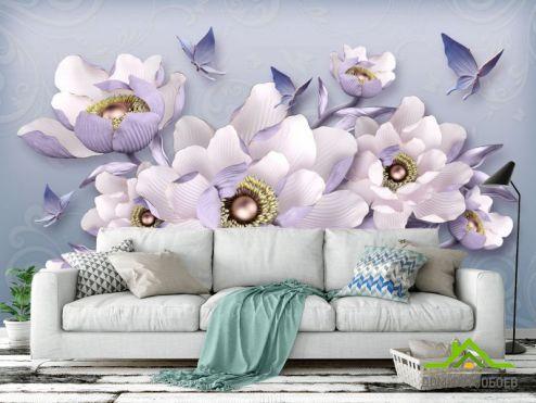 Цветы Фотообои 3д цветы