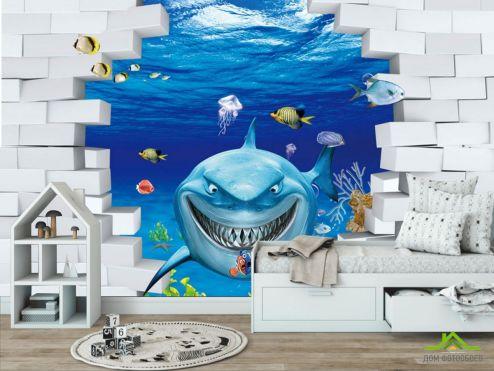 обои в детскую Фотообои Акула 3Д
