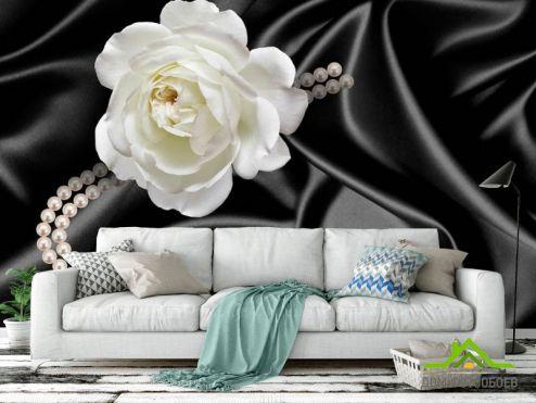 обои Цветы Фотообои Роза с жемчугом