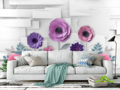 3Д обои Фотообои 3Д бумажные цветы