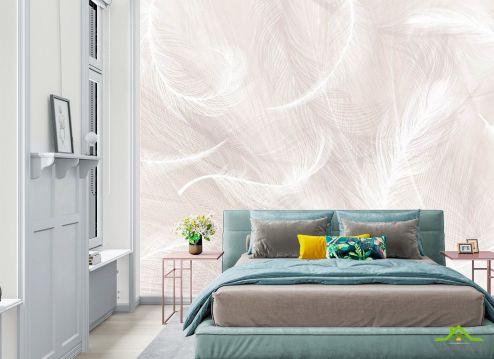 Фотообои в спальню по выгодной цене Фотообои Бежевый фон и белые перья