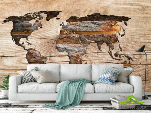 Фотообои карта Мира по выгодной цене Фотообои Текстурная карта из дерева
