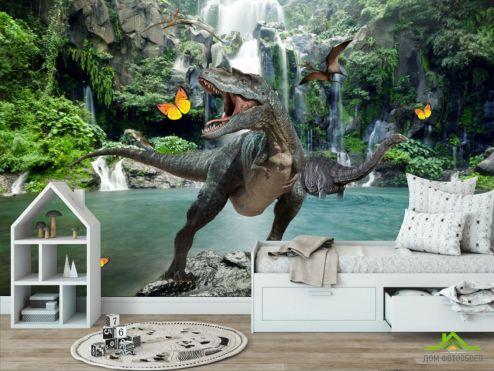 в детскую Фотообои Динозавр у водопада