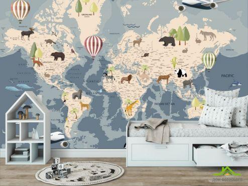 в детскую Фотообои Карта с животными