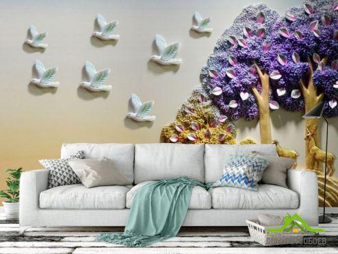 обои 3Д барельеф Фотообои Деревья с птицами