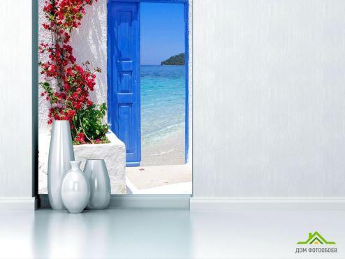 Каталог фотообоев Фотообои Дверь с видом на море
