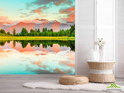 обои Природа Фотообои Ёлки,горы, вода
