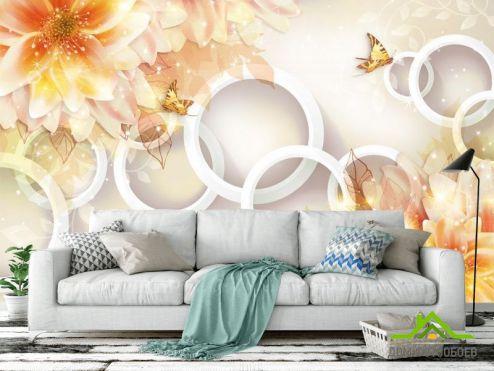3Д обои Фотообои Жёлтые хризантемы 3d
