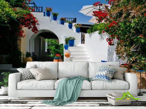 Греция Фотообои Ступеньки с горшками