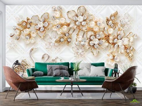 3Д  Фотообои Золотые брошки и лебеди