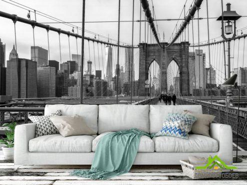 Фотообои Город по выгодной цене Фотообои Чб Бруклинский мост