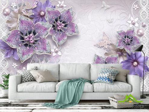 3Д обои Фотообои 3d брошь+цветы