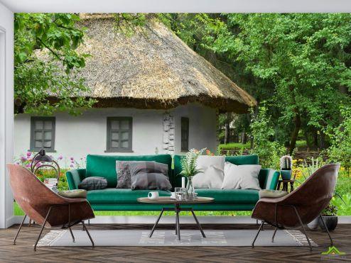 Природа Фотообои домик с соломенной крышей купить