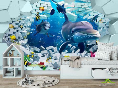 в детскую Фотообои 3д дельфины