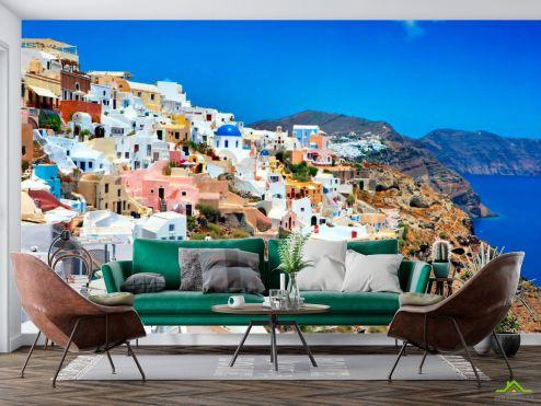 Город Фотообои о. Санторини, Греция