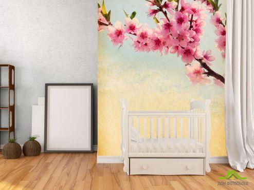 обои Цветы Фотообои Веточка вишневых цветов