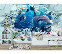 Фотообои 3д дельфины