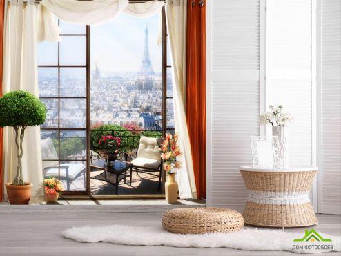 обои Вид из окна  Фотообои Вид из окна на Париж