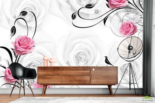 3Д  Фотообои Розы на атласе