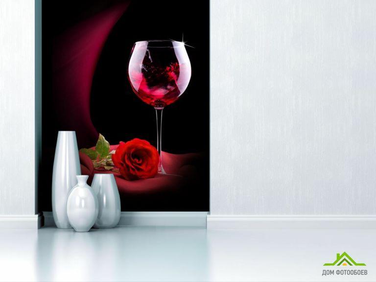 Фотообои красное вино и роза