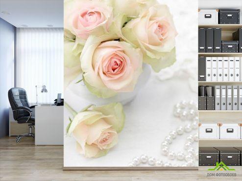 обои Цветы Фотообои Белые розы