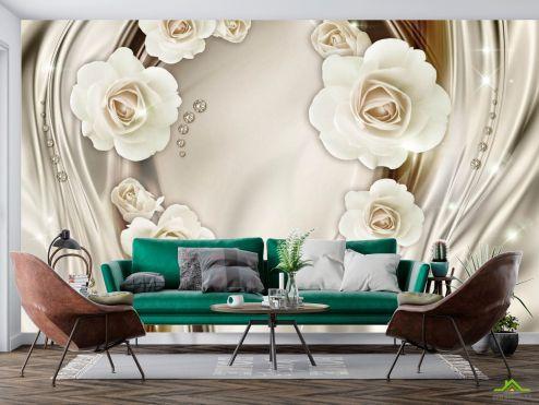 Фотообои Белые 3д цветы с камнями купить