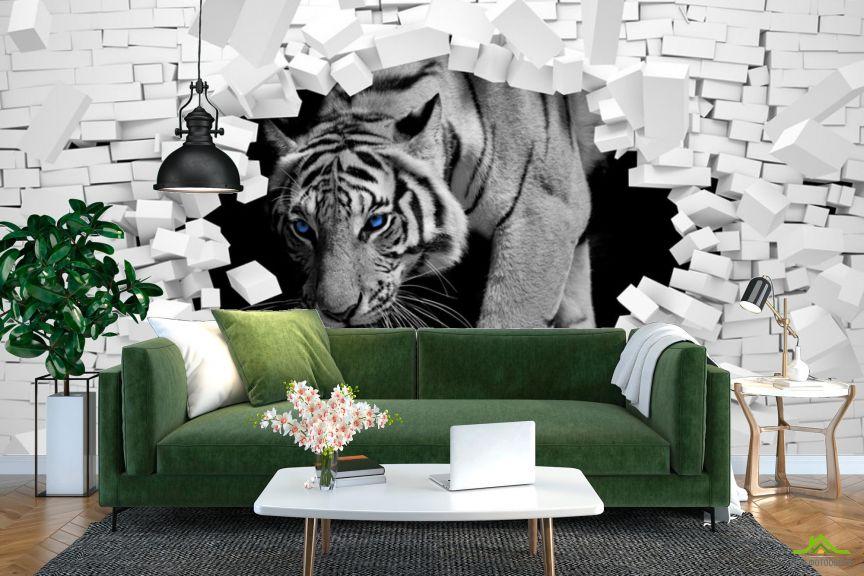 Фотообои  Тигр из каменной стены