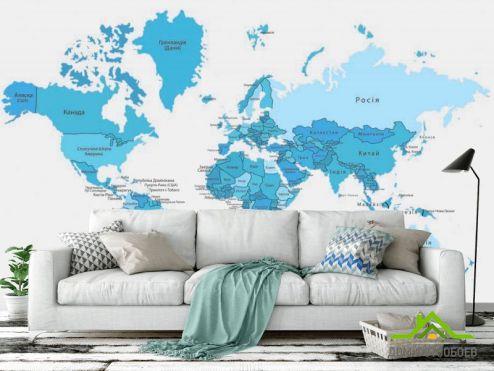 Голубые  Фотообои Карта